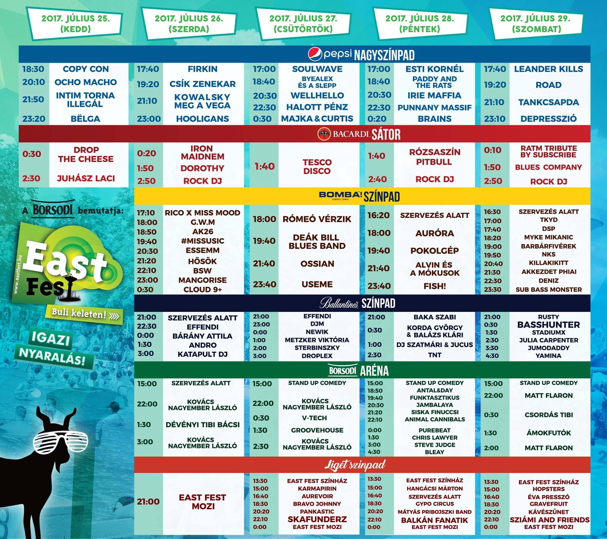 Itt az East Fest végleges programja!