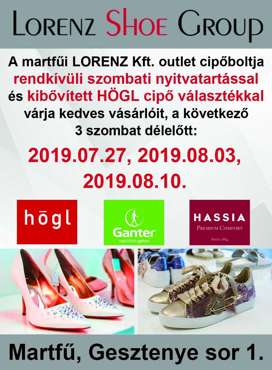 Rendkívüli szombati nyitvatartás a martfűi Lorenz Kft. outlet cipőboltjában!