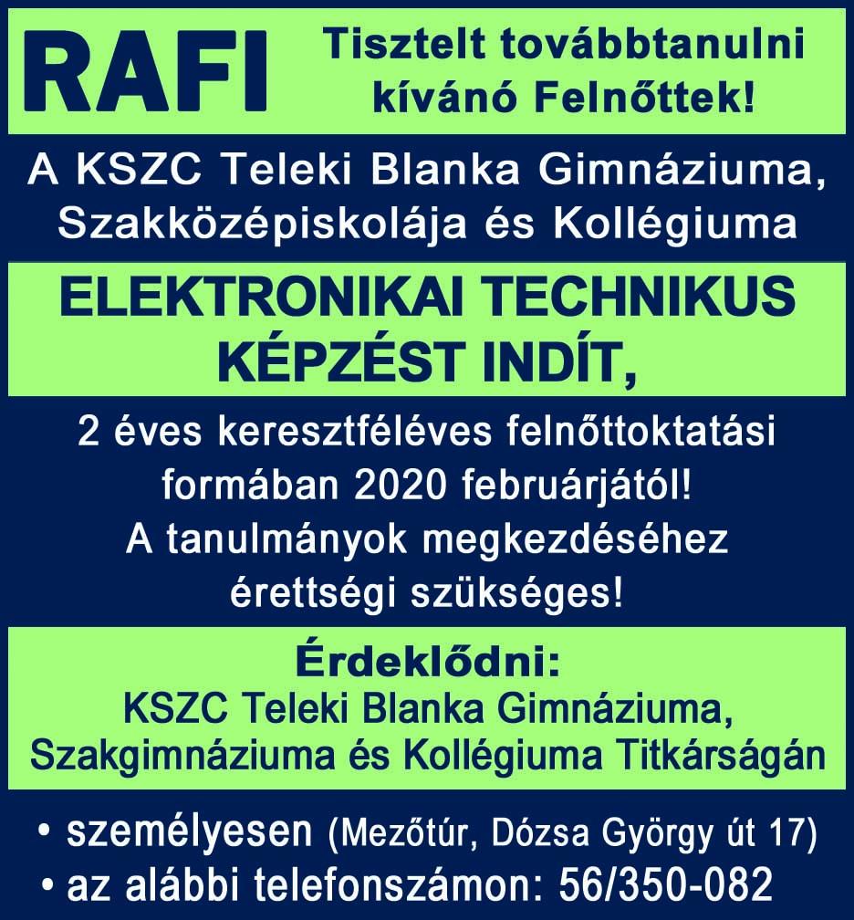 Elektronikai technikus képzést indít a Rafi, Mezőtúron!