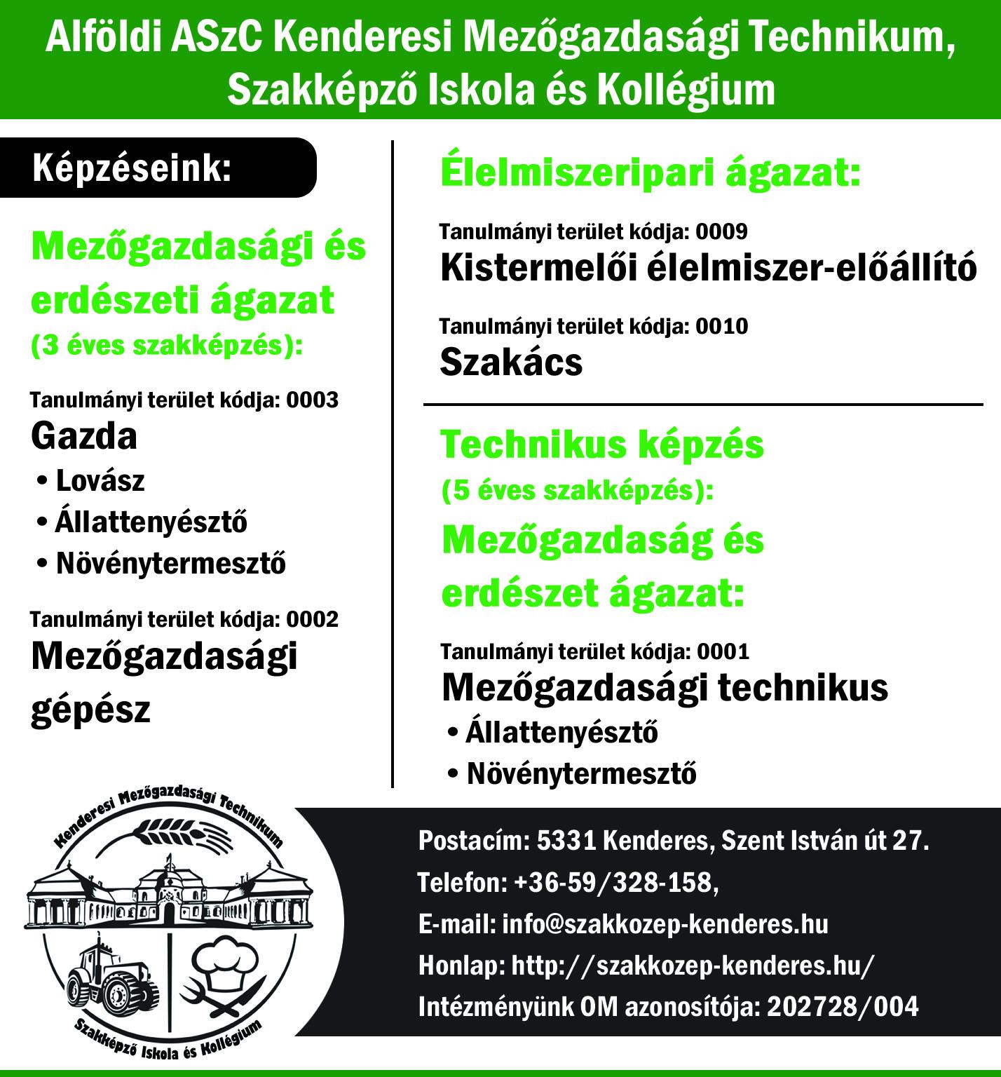 Alföldi ASzC Kenderesi Mezőgazdasági Technikum, Szakképző Iskola és Kollégium képzéskínálata a 2021/2022-es tanévre