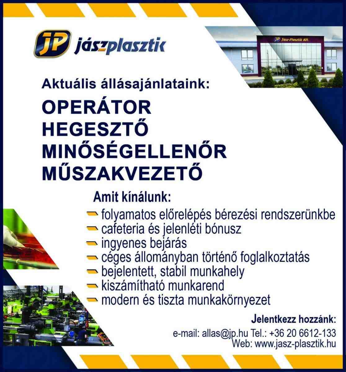 2c9deb4ec674 Operátort, hegesztőt, minőségellenőrt és műszakvezetőt keres a  Jász-Plasztik Kft.